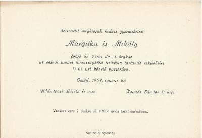 Nádudvari Margit és Komlós Mihály esküvői meghívója