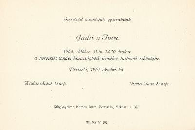 Hadas Judit és Nemzes Imre esküvői meghívója