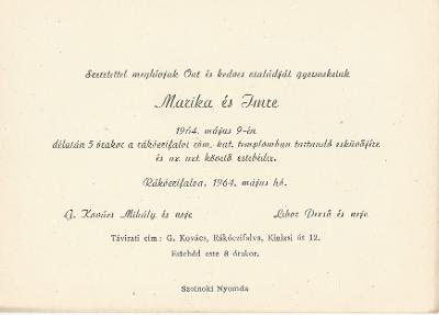 G. Kovács Marika és Libor Imre esküvői meghívója