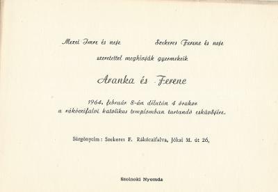 Mezei Aranka és Szekeres Ferenc esküvői meghívója