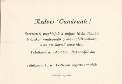 1959-ben végzett tanulók találkozója Rákóczifalván