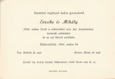 Vas Erzsébet és Annus Mihály esküvői meghívója