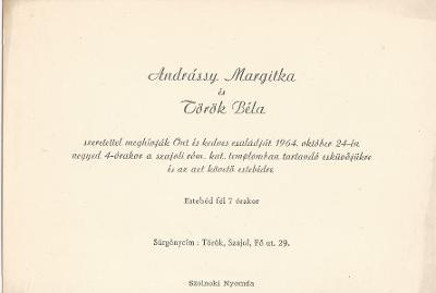 Andrássy Margit és Török Béla esküvői meghívója