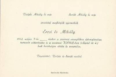 Tisljár Erzsébet és Szvák Mihály esküvői meghívója