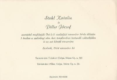 Stuhl Katalin és Piller József esküvői meghívója