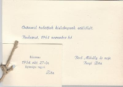 Bíró Zita megszületett 1964. október 27-én Budapesten