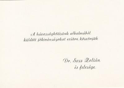 Dr. Sass Zoltán és feleségének házasságkötési köszönőlevele