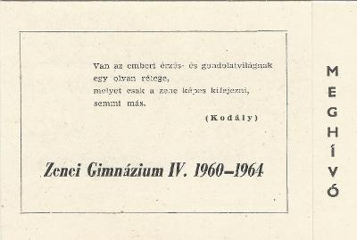 Zenei Gimnázium ballagási meghívója