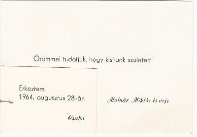 Megszületett Molnár Csaba 1964. augusztus 28-án Szolnokon.