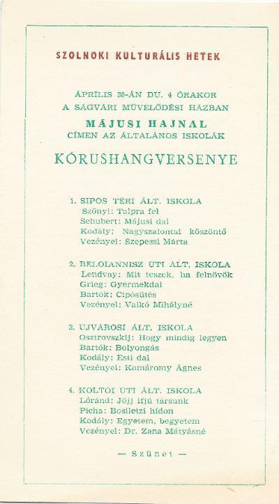 Szolnoki Kulturális Hetek - Általános Iskolák Kórushangversenye