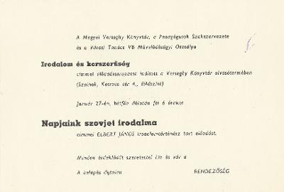 """Elbert János """"Napjaink szovjet irodalma"""" című előadása a Verseghy Könyvtár olvasótermében"""