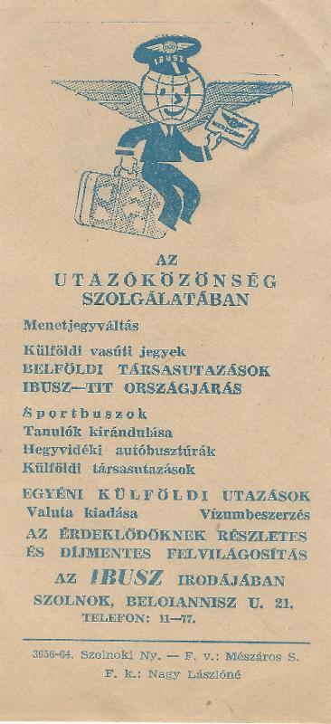 IBUSZ tájékoztató nyomtatványa
