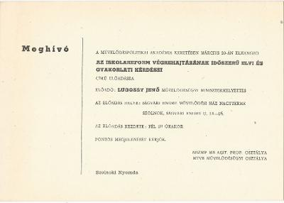 """Lugossy Jenő előadása """"Az iskolareform végrehajtásának időszerű elvi és gyakorlati kérdései"""" címmel"""