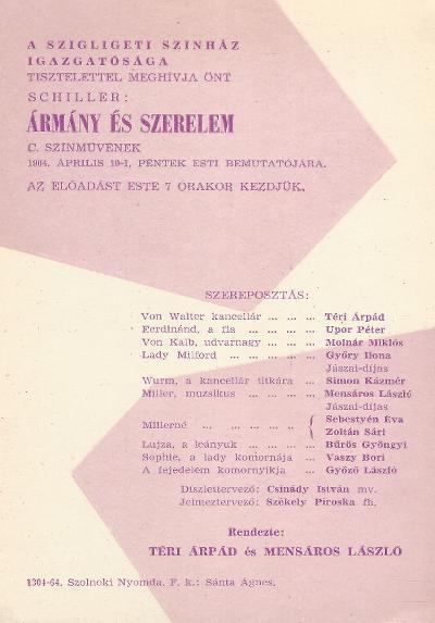 Schiller: Ármány és szerelem című színművének bemutatója