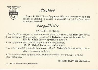 Szolnoki MÁV Sport Egyesület közgyűlése
