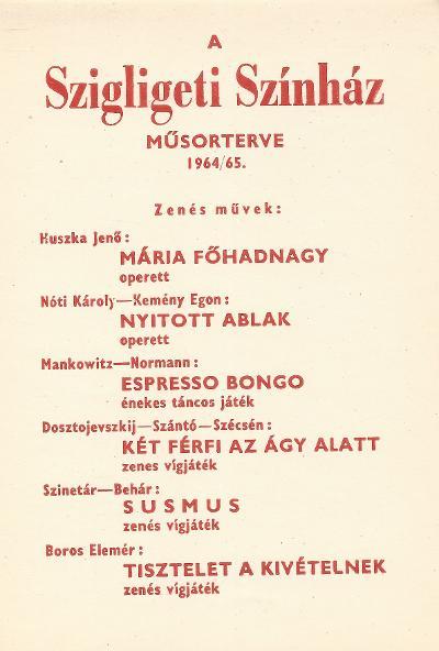 Szigligeti Színház 1964/65 műsorterve