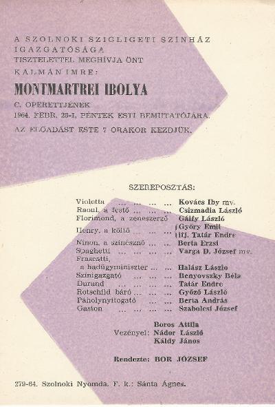 Kálmán Imre: Montmartrei Ibolya