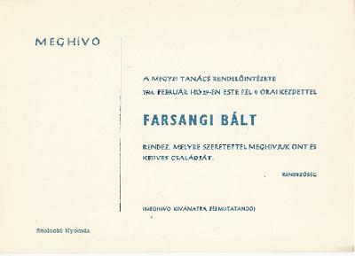 Farsangi bál a Megyei Tanács Rendelőintézetének rendezésében