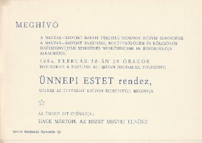Szovjet-Magyar Baráti Társaság ünnepi estje