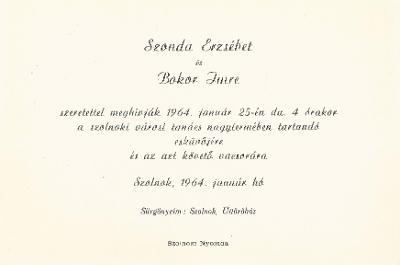 Szonda Erzsébet és Bokor Imre esküvői meghívója