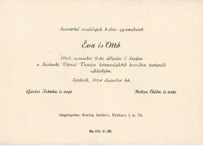 Éva és Ottó esküvői meghívója