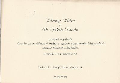 Károlyi Klára és Dr. Fekete István esküvői meghívója