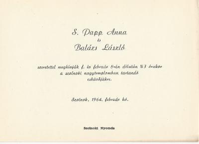 S. Papp Anna és Balázs László esküvői meghívója
