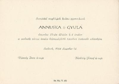 Várady Anna és Bánhidy Gyula esküvői meghívója