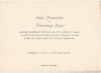 Soós Franciska és Turcsányi Lajos esküvői meghívója