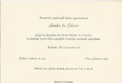 Juhász Lenke és Veres János esküvői meghívója