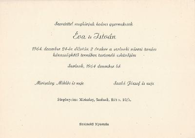 Miriszlay Éva és Szabó István esküvői meghívója