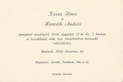 Kasza Ilona és Horváth András esküvői meghívója