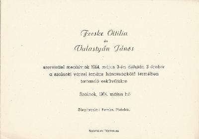 Fecske Ottilia és Valastyán János esküvői meghívója