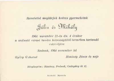 Győry Júlia és Rimóczy Mihály esküvői meghívója