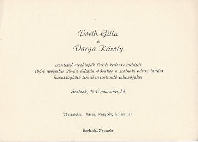 Porth Gitta és Varga Károly esküvői meghívója