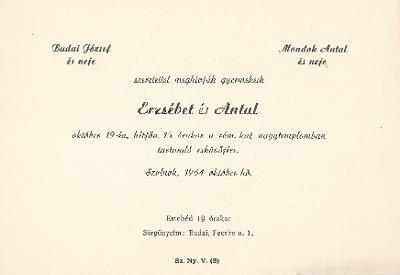 Budai Erzsébet és Mondok Antal esküvői meghívója