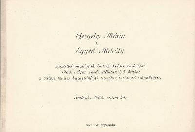 Gergely Mária és Egyed Mihály esküvői meghívója
