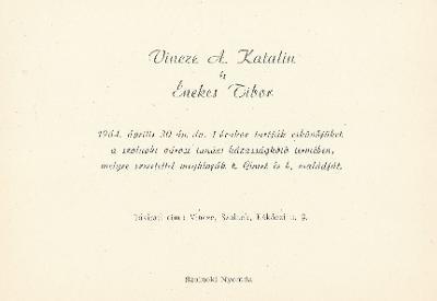 Vincze A. Katalin és Énekes Tibor esküvői meghívója