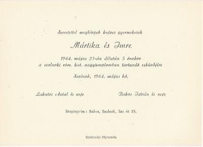 Lakatos Mártika és Bakos Imre esküvői meghívója