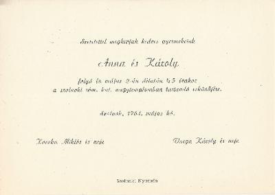 Koczka Anna és Varga Károly esküvői meghívója