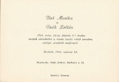 Bíró Marika és Deák Zoltán esküvői meghívója