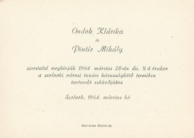 Ondok Klárika és Pintér Mihály esküvői meghívója