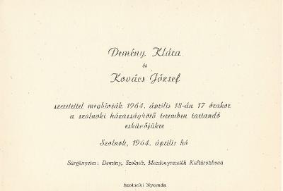 Demény Klára és Kovács József esküvői meghívója