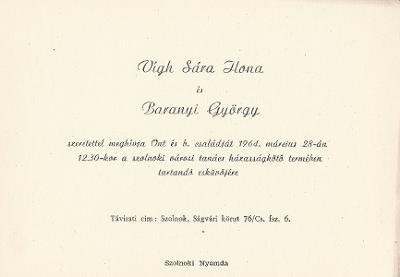 Vígh Sára Ilona és Baranyi György esküvői meghívója