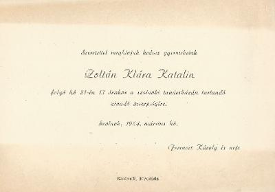 Ferenczi Zoltán, Ferenczi Klára és Ferenczi Katalin névadó ünnepsége.