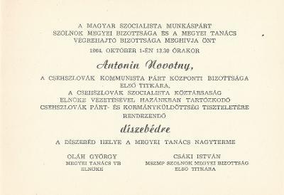 Meghívó Antonin Novotny a Csehszlovák Kommunista Párt Központi Bizottsága első titkárának tiszteletére rendezett díszebéd