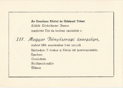 XIV. Magyar Bányásznapi ünnepség