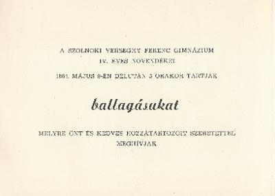 Szolnoki Verseghy Ferenc Gimnázium ballagási meghívója