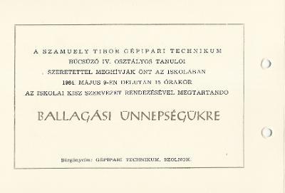 Szolnoki Szamuely Tibor Gépipari Technikum ballagási meghívója