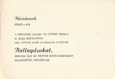 Szolnoki Gyors- és Gépíró Iskola Ballagási meghívója